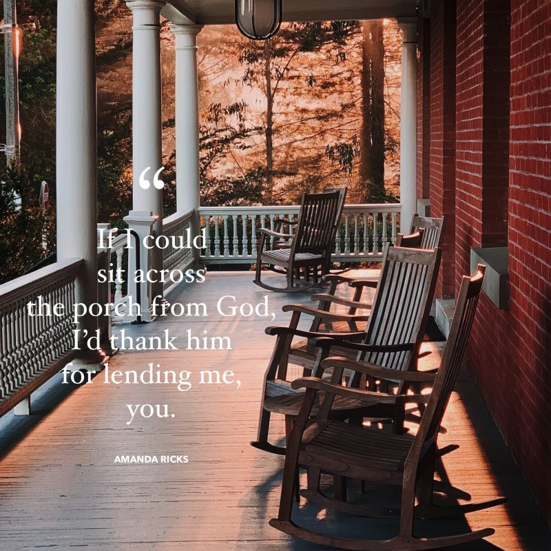 sitting across the porch from God image quote