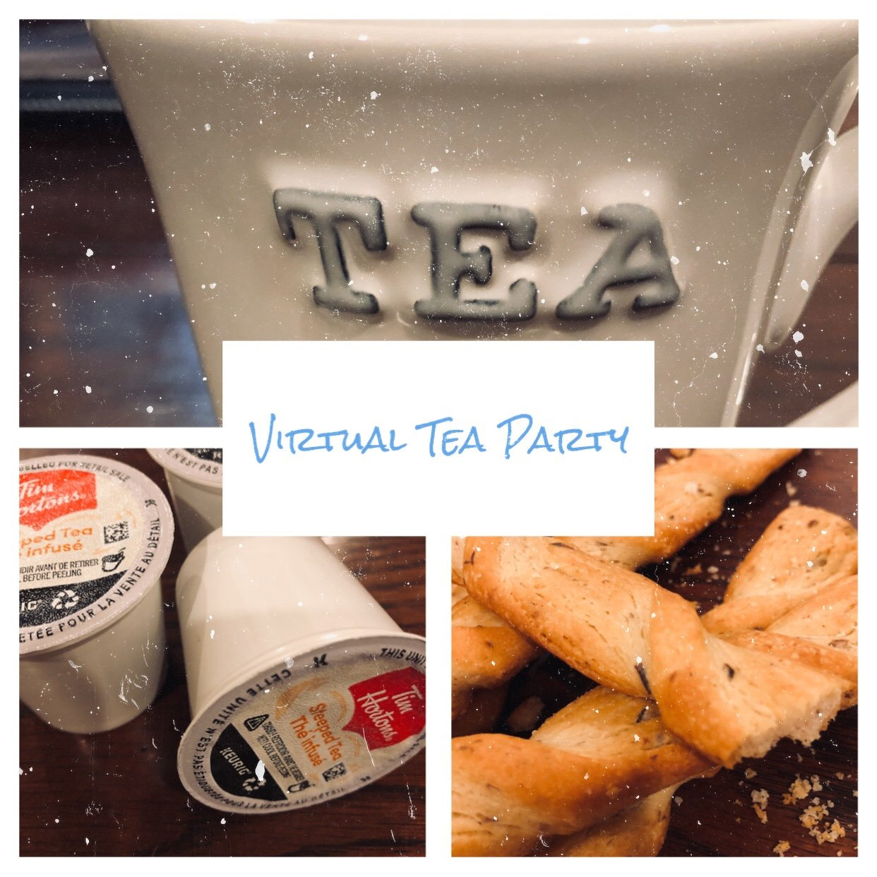 virtual tea party with olive breadsticks
