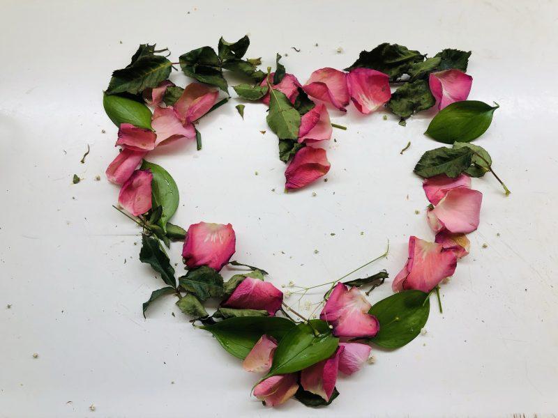 Petal and leaf heart